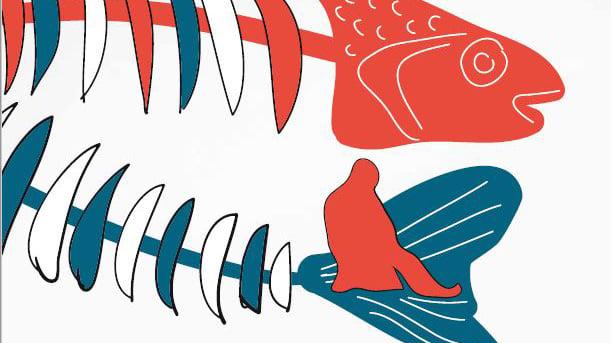 Piirretty kuva, jossa on kaksi suurta kalanruotoa ja pieni pilkkijä.
