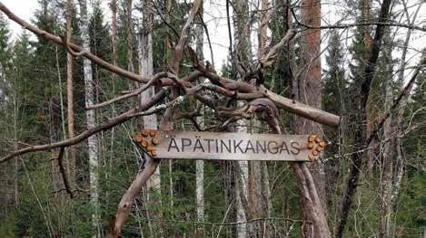 Metsässä oleva puinen kyltti, jossa lukee Äpätinkangas.