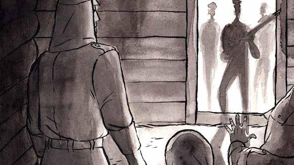 Piirroskuva, jossa sotilas suomalaiset sotilaat seisovat ladon ovella. Ladossa sisällä on venäläisiä sotilaita.