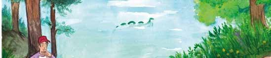 Piirroskuva, jossa mies rannalla ihmettelee järvessä uivaa merihirviön näköistä otusta.