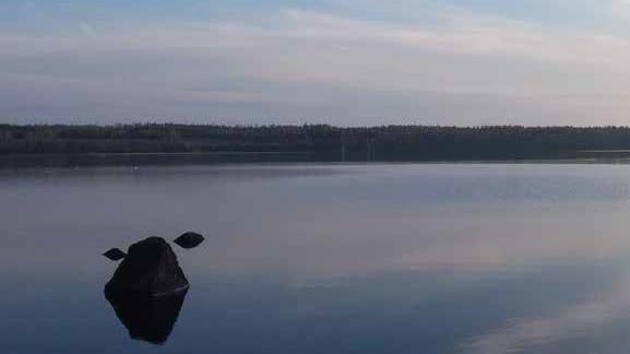 Kaunis kesäinen järvimaisema. Vesi on peilityyni.