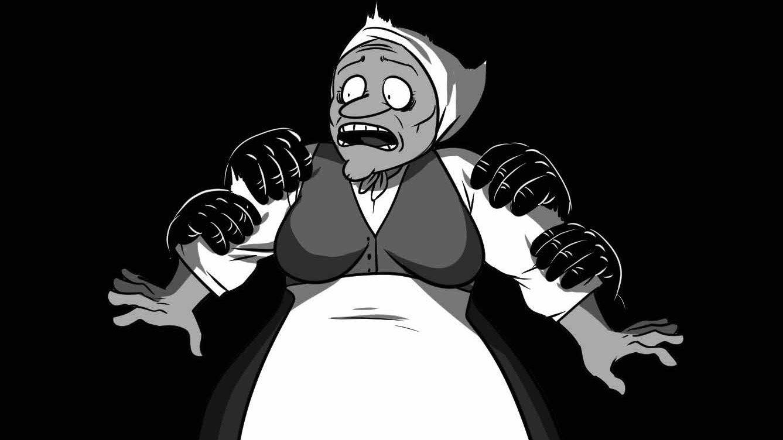 Piirroskuva vanhasta naisesta, jonka käsivarsiin on tarttunut kahden hyökkääjän kädet.