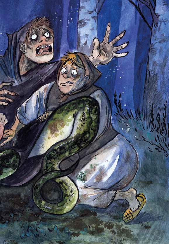 Piirroskuva, jossa naiset pitelevät kiinni kauhistuneen näköistä henkilöä, jolla on käärmeen alaruumis.