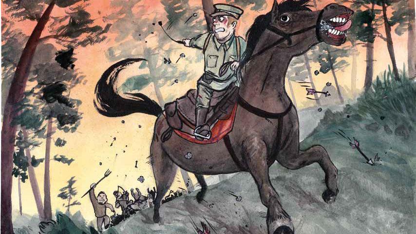 Piirroskuva, jossa mies ratsastaa pakoon vihaista väkijoukkoa.