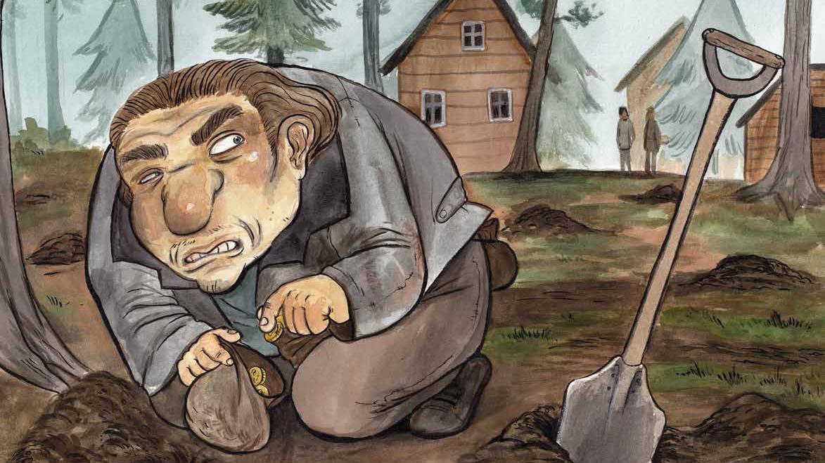 Piirretty kuva, jossa mies pudottaa kolikoita pieneen pussiin. Vieressä on lapio ja useita kaivettuja pikkukuoppia.