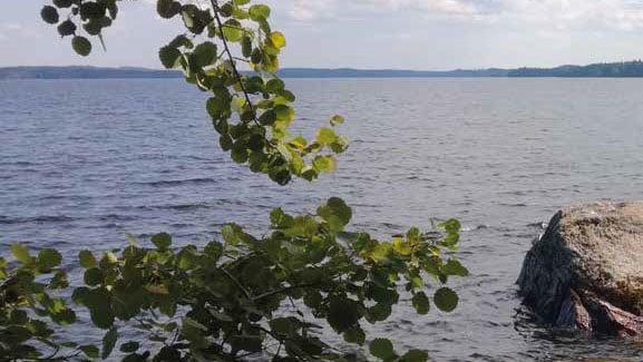 Järvimaisema, jossa rannan tuntumassa vedessä on iso kivi.