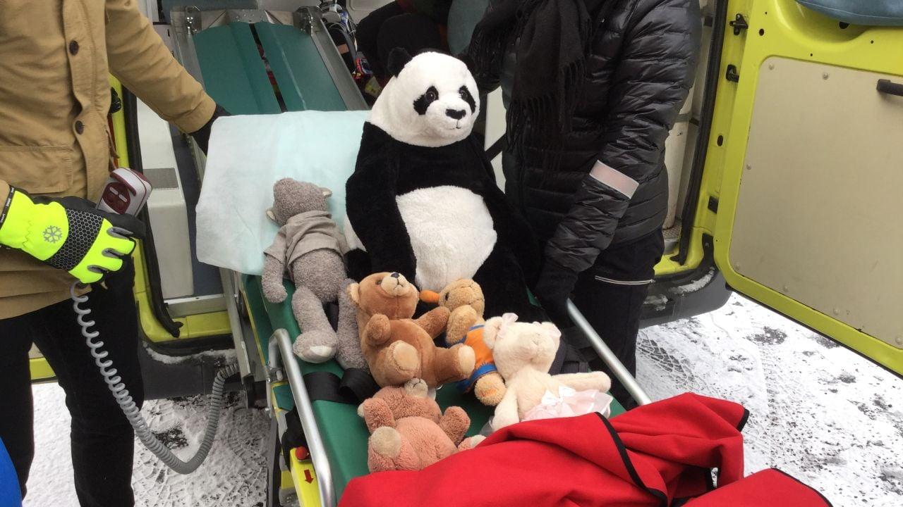 Pehmoleluja paarien päällä menossa ambulanssin kyytiin.